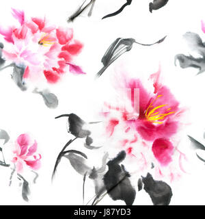 Beautiful seamless pattern with pink peonies painted with ink in Japanese style. Wallpaper with watercolor flowers - Stock Photo