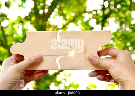 hand holding wood jigsaw piece texture pattern on nature background - Stock Photo