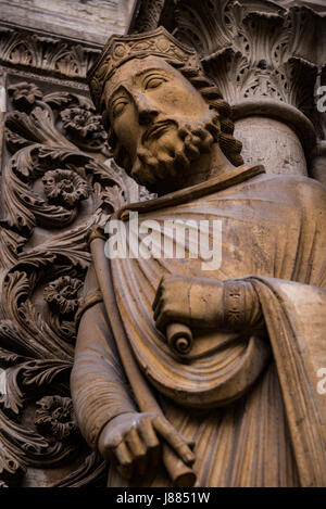 Carvings on the exterior of the Basilica of St Denis, France - Stock Photo