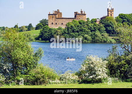 Linlithgow Palace viewed from the west across Linlithgow Loch in Linlithgow West Lothian Scotland UK - Stock Photo