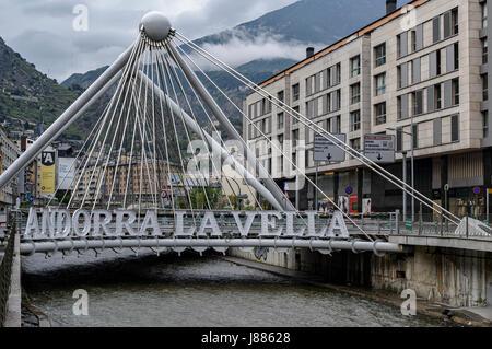 Bridge Pont de Paris crossing the river Gran Valira, Andorra La Vella, Principality of Andorra - Stock Photo