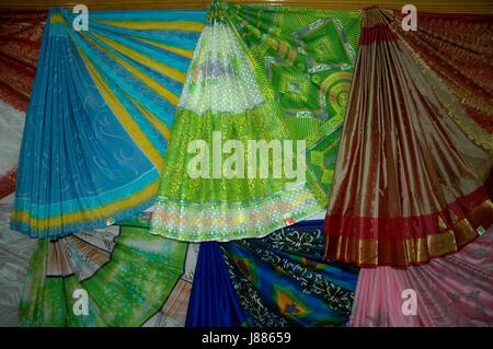 Display of Silk Sharees at a store at Rajshahi, Bangladesh - Stock Photo