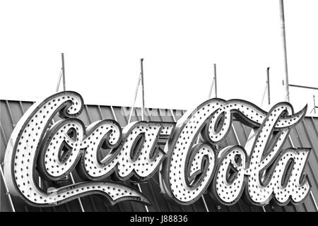 An iconic Coco Cola sign on the boardwalk in Wildwood, New Jersey, USA - Stock Photo
