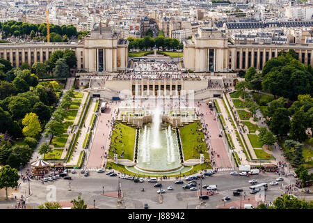 Aerial View on Trocadero Fountains From the Eiffel Tower, Paris, France - Stock Photo