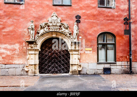Ornate Marble Gate in Stockholm Old Town (Gamla Stan), Sweden - Stock Photo