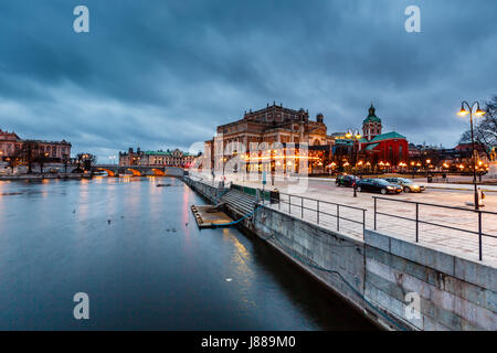 Illuminated Stockholm Royal Opera in the Evening, Sweden - Stock Photo