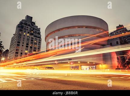 New York City, Guggenheim museum at night - Stock Photo