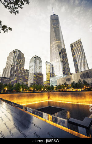 9/11 Memorial, The National September 11 Memorial & Museum, One World Trade Center at night, New York - Stock Photo