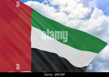3D rendering of United Arab Emirates flag waving on blue sky background, National Day. Formation of federation of - Stock Photo