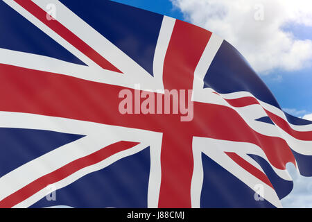 3D rendering of United Kingdom flag waving on blue sky background, Great Britain flag - Stock Photo