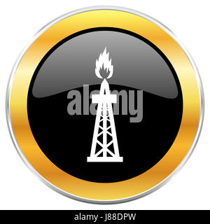 Gas black web icon with golden border isolated on white background. Round glossy button. - Stock Photo