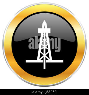 Drilling black web icon with golden border isolated on white background. Round glossy button. - Stock Photo