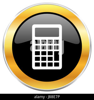Calculator black web icon with golden border isolated on white background. Round glossy button. - Stock Photo