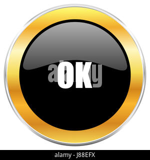 Ok black web icon with golden border isolated on white background. Round glossy button. - Stock Photo