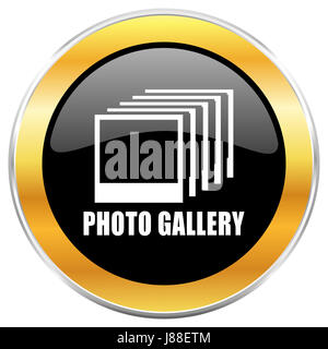 Photo gallery black web icon with golden border isolated on white background. Round glossy button. - Stock Photo