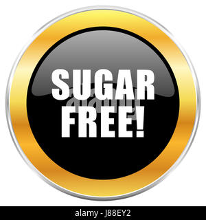 Sugar free black web icon with golden border isolated on white background. Round glossy button. - Stock Photo