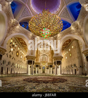 the Second Largest Chandelier in the world in Sheikh Zayed Mosque - Stock Photo