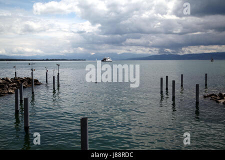 horizon, lake constance, germany, german federal republic, water, clouds, - Stock Photo