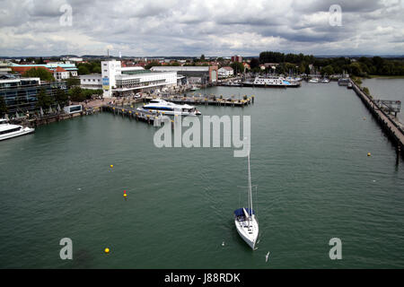 harbor, lake constance, harbours, sailing boat, sailboat, zeppelin, germany, - Stock Photo