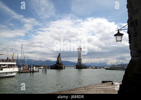 harbor, lake constance, harbours, gateway, germany, german federal republic, - Stock Photo