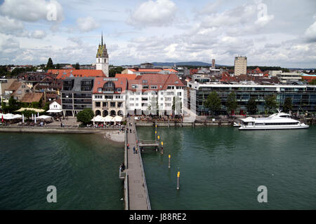 houses, harbor, lake constance, harbours, promenade, germany, german federal - Stock Photo