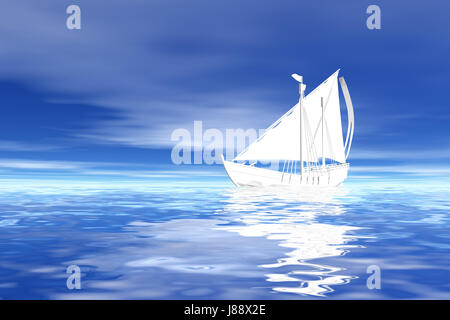 sail, sailing ship, sailing boat, sailboat, rowing boat, boat, watercraft, - Stock Photo