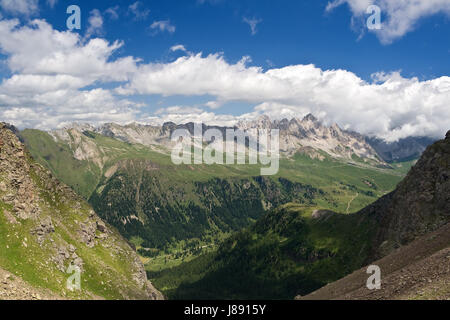 dolomites, alps, summer, summerly, valley, sight, view, outlook, perspective, - Stock Photo