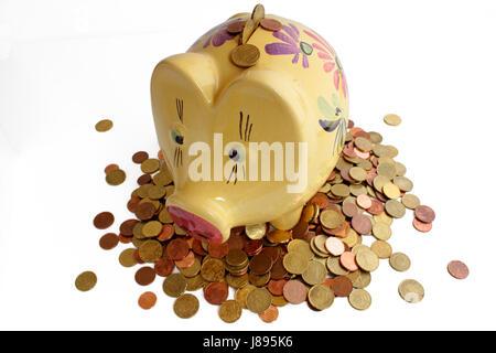 piggy bank on euro coins - Stock Photo