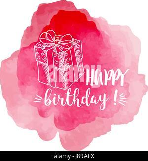 Happy BIrthday - pink vector illustration - Stock Photo