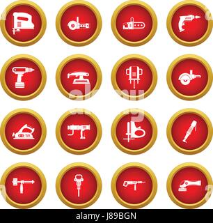 Electric tools icon red circle set - Stock Photo