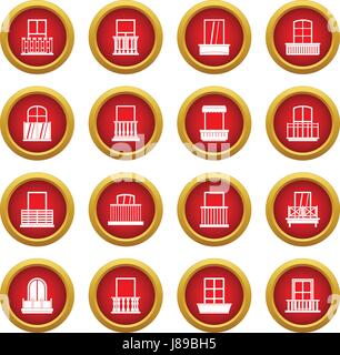 Window forms icon red circle set - Stock Photo