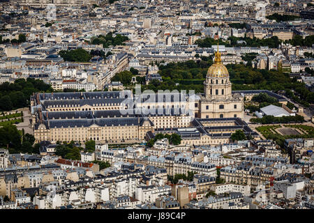 Aerial View on Les Invalides from the Eiffel Tower, Paris, France - Stock Photo