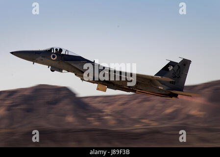 An Israeli F-15C Buzz launches for a sortie in support of exercise Juniper Falcon May 7, at Uvda Air Base, Israel. - Stock Photo