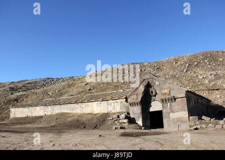 14th-century Orbelian's Caravanserai, located at Vardenyant (Selim) Mountain Pass, Vayots Dzor province, Armenia. - Stock Photo