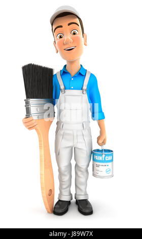 3d painter standing next to big paint brush, illustration with isolated white background - Stock Photo