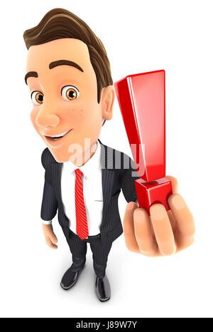 3d businessman holding exclamation mark, illustration with isolated white background - Stock Photo