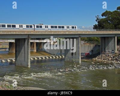 BART, Bay Area Rapid Transit, train over Alameda Creek, California - Stock Photo