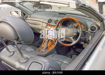 Cockpit of a right hand drive Mercedes-Benz CLK500 Cabriolet on display at Tamworth NSW Australia. - Stock Photo
