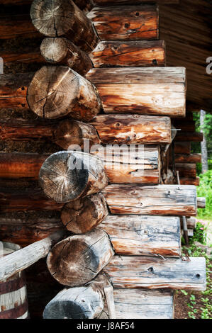 Conner of Log Cabin on the Chena Village - Stock Photo