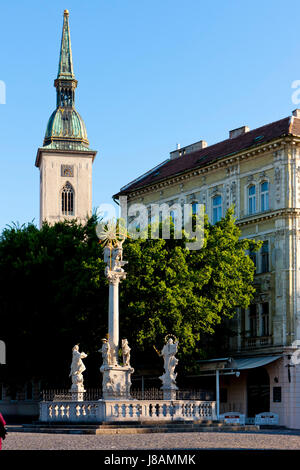 tower, travel, buildings, historical, church, city, town, slovakia, cathedral, - Stock Photo