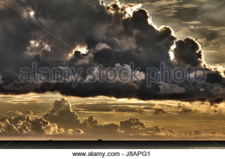 dramatic, threatening, ship, storm, landscape, scenery, countryside, nature, - Stock Photo