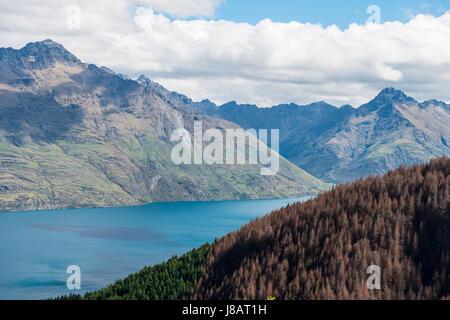 View of Lake Wakatipu, Ben Lomond, Otago, South Island, New Zealand - Stock Photo