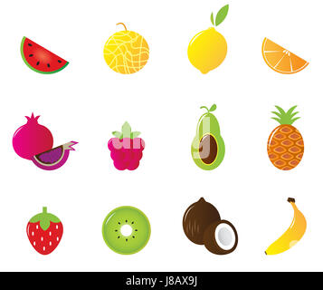 isolated, fruit, vegetable, berries, set, vector, vegetables, white, food, - Stock Photo