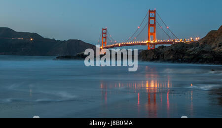 Golden Bridge Bridge During Sunset - Stock Photo