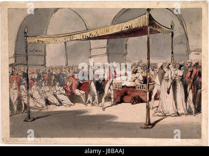 Major General the Hon. Arthur Wellesley being received in durbar at the Chepauk Palace Madras by Azim al Daula Nawab - Stock Photo
