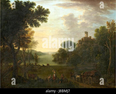 John Wootton (Snitterfield 1682 1764 London), An extensive river landscape with figures and a wagon on a track, - Stock Photo