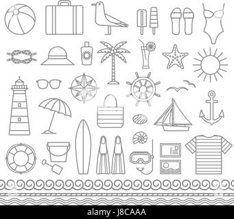 Sea and summer outline vector silhouette icons 1 - Stock Photo