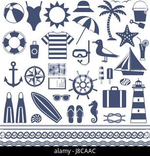 Sea and summer vector silhouette icons 1 - Stock Photo