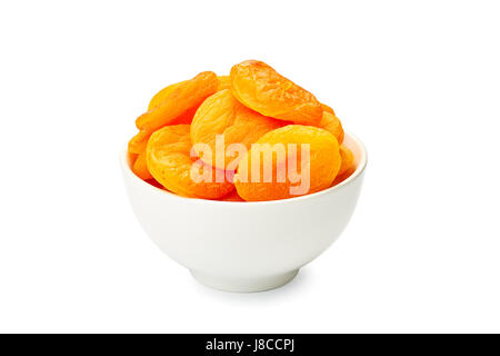 Bowl of dried apricots on white - Stock Photo