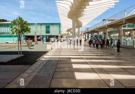 Modern Marina and waterfront promenade in Malaga, Alborania Aula del mar, Maritime Museum, Muelle uno. Malaga, Southern - Stock Photo